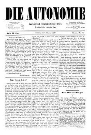 02. Jahrgang 1887 Die Autonomie London