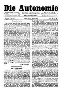 07. Jahrgang 1892 Die Autonomie London