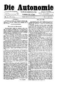 08. Jahrgang 1893 Die Autonomie London